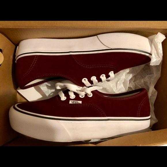 Vans Shoes | Burgundy Platform Vans
